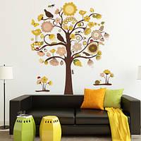 Виниловая наклейка на обои Дерево разноцвет, интерьерный стикер, большие интерьерные наклейки на стены, оракал
