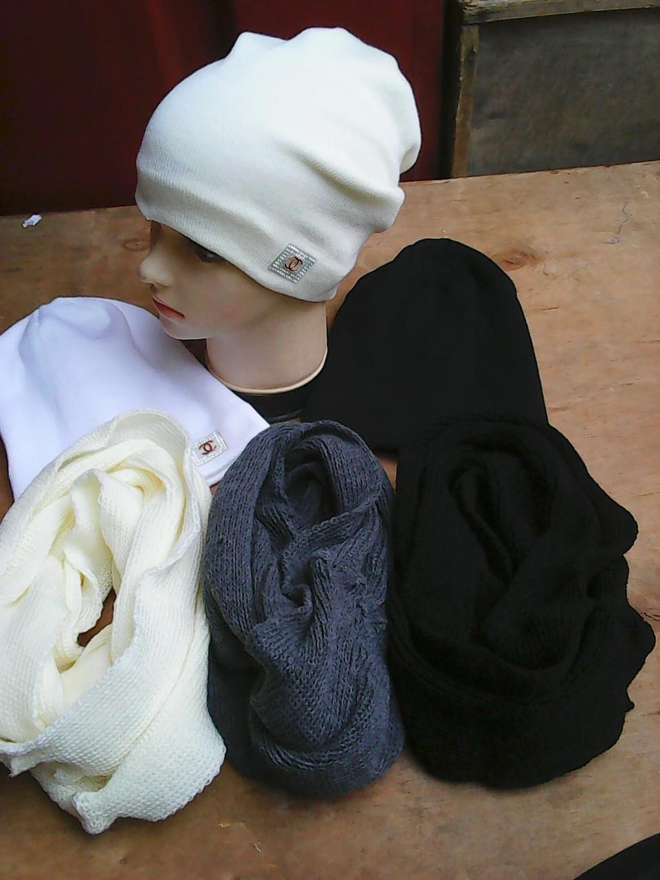Шапка на флисе  с шарфиком хомут