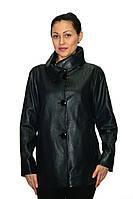 Куртка кожаная темно-синяя на пуговицах, фото 1