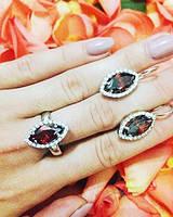 Комплект из серебра серьги, кольцо