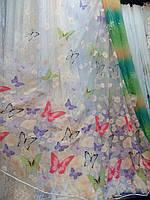 Тюль гардина органза печать Бабочки