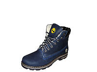 Женские ботинки Timberland синие на шнурках