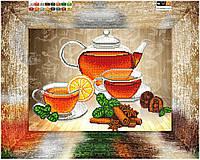 """Схема для вышивки бисером на подрамнике (холст) """"Чай с корицей и лимоном"""""""