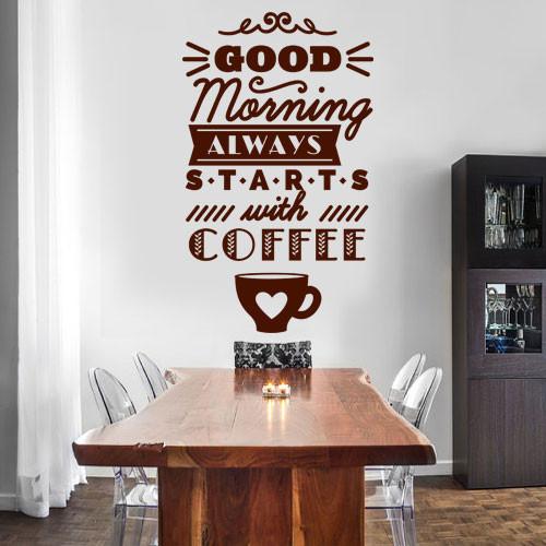 Интерьерная кухонная наклейка Надпись Good morning (английские слова наклейки кофе)