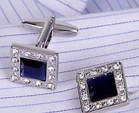 """Запонки """"Синие с блеском"""", серебристые, квадратные"""