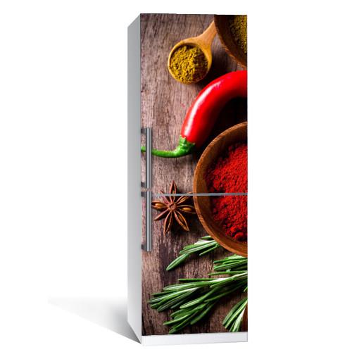 Наклейка виниловая на холодильник Специи (пленка самоклеящаяся)