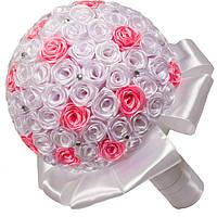 Свадебный букет дублер из атласных лент белого и розового цвета