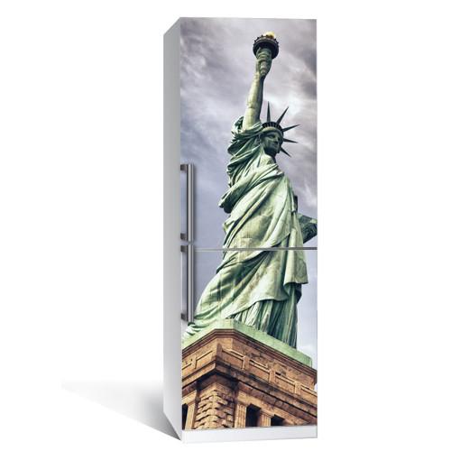 Виниловая наклейка на холодильник Статуя свободы 01 (пленка самоклеющаяся фотопечать)