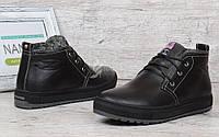 Ботинки мужские зимние кожаные Montana casual black на меху, Черный, 40
