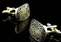"""Запонки """"римского стиля"""", овальные, золотистые"""