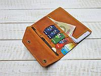 "Жіноче портмоне кошелек, гаманець ""Нer"" ручної роботи, натуральна шкіра, на кнопках, клатч"