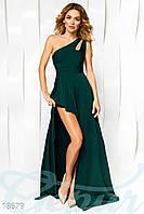 Асимметричное вечернее платье. Цвет зеленый.
