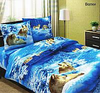 Ткань для постельного белья бязь Волки