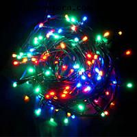 Гирлянда светодиодная нить, 100 led  черный провод - цвет разноцветный