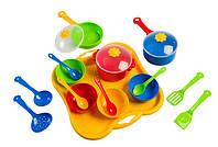Набор игрушечной детской посуды Ромашка 19 элементов на подносе.