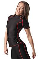 Футболка компрессионная женская Plastic Body черная/красный шов BS