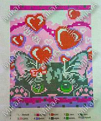 Схема нанесенная на канву для вышивки нитками - Кися и сердечки