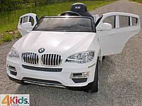 Детский электромобиль BMW X6: 2.4G, 90W, покраска, кожаное сидение, USB/MP3 - Белый- купить оптом