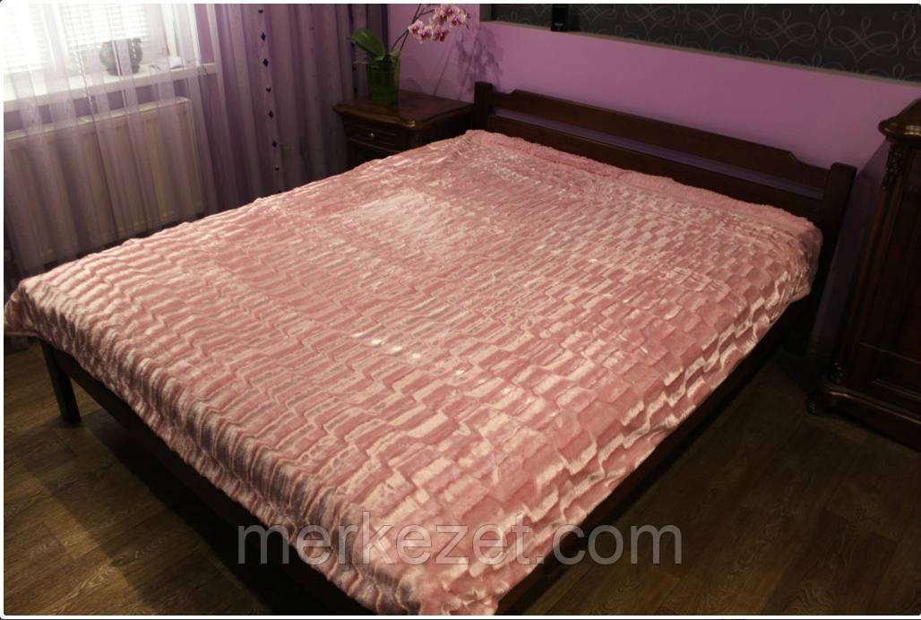"""Плед с коротким ворсом """"Норка персик"""". Покрывало на двухспальную кровать"""