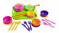 Набор игрушечной детской посуды Ромашка 25 элементов на подносе.