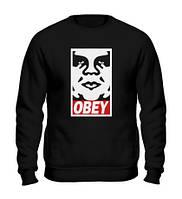 Свитшот Obey Face черный с логотипом,унисекс (мужской,женский,детский)