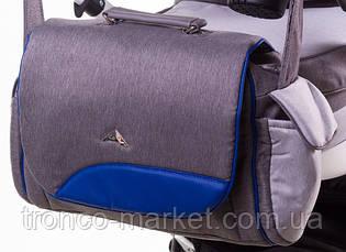 Коляска 2 в 1 adamex aspena Rainbow серый лен-темно синяя кожа Indigo, фото 2
