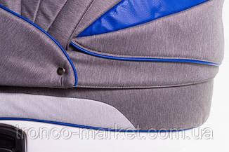 Коляска 2 в 1 adamex aspena Rainbow серый лен-темно синяя кожа Indigo, фото 3