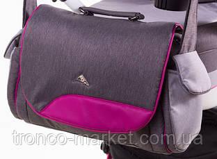 Коляска 2 в 1 adamex aspena Rainbow серый лен-темно малиновая кожа Pink, фото 2