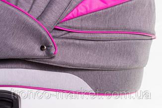 Коляска 2 в 1 adamex aspena Rainbow серый лен-темно малиновая кожа Pink, фото 3