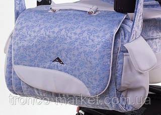 Коляска 2 в 1 adamex aspena кожа 50% голубой(цветочки)-белая кожа 723S, фото 2