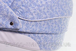 Коляска 2 в 1 adamex aspena кожа 50% голубой(цветочки)-белая кожа 723S, фото 3