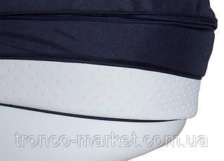 Коляска 2 в 1 adamex avila кожа 50% синий-белая кожа выдавл.точки 710S, фото 3