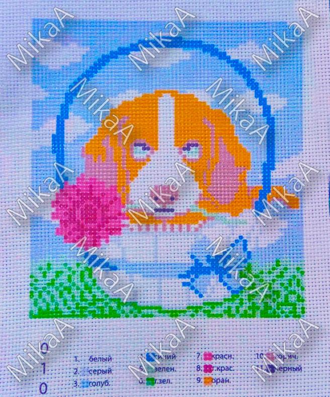 Схема нанесенная на канву для вышивки нитками - Собачка с цветочком
