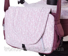 Коляска 2 в 1 adamex erika len розовый(цветочек)-бордо(лен) 232W, фото 2
