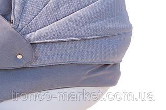 Коляска 2 в 1 adamex lara len белая рама серый(меланж)-серый 88L, фото 3