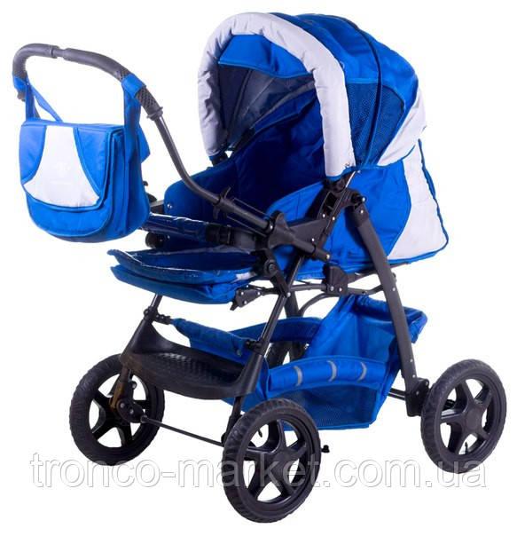 Коляска трансформер Trans Baby Gustaw синий-св.серый