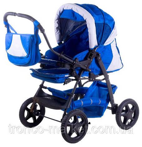 Коляска трансформер Trans Baby Gustaw синий-св.серый , фото 2