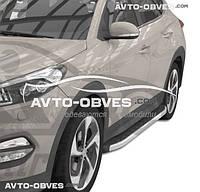 Штатные подножки Hyundai Tucson 2015-2017, стиль Porsche Cayenne