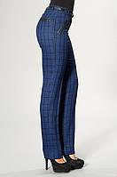 Женские брюки в клетку синего цвета, р.42 код 2417М