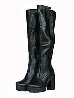 Ботфорты зимние кожаные на высоком каблуке и тракторной платформе