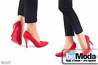 Оригинальные женские замшевые туфли L&M Red на высоком каблуке с острым носком и красной подошвой красные