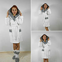 Набор женский белый  халат + махровые сапожки