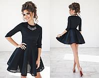 Т2013 Платье коктейльное неопрен сетка Черный