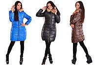 Пальто на молнии синтепоновое плащевка зимнее с натуральным мехом на капюшоне