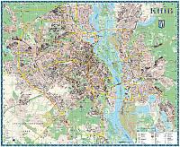 Настенная карта Киева к каждому дому - 190х158 см - картонная/на планках