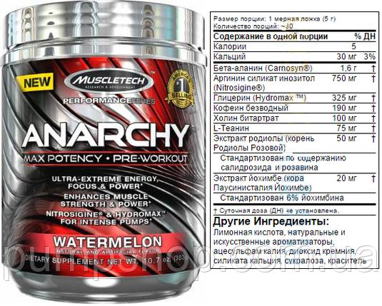 Предтренировочний комплекс MuscleTech Anarchy 60 порц., фото 2