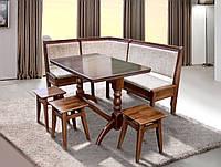 Комплект кухонный Семейный массив бука (мягкий угол, стол + 3 табурета)