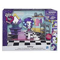 Игровой набор с мини-куклой пони Рарити Пижамная вечеринка Equestria Girls Minis