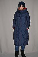 Пальто-пуховик женское зимнее двустороннее удлиненное