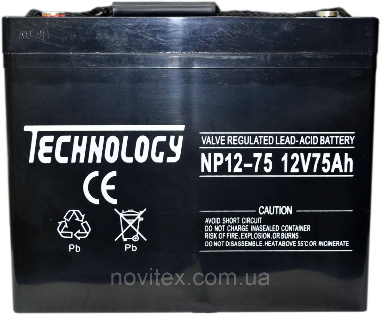 Аккумулятор мультигелевый TECHNOLOGY NP12-75Ah 12V 75AH